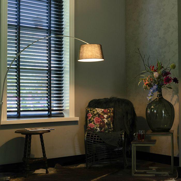 Moderne-Stahlbogenlampe-mit-schwarzem-Stoffschirm---Arc-Basic