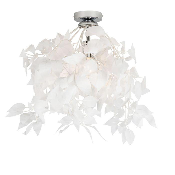 Romantische-Deckenleuchte-weiß-mit-Blättern---Feder