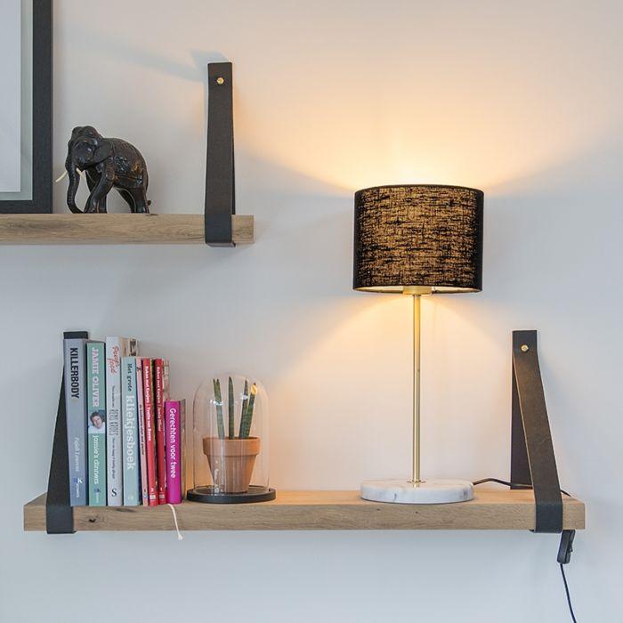Messing-Tischlampe-mit-schwarzem-Schirm-20-cm---Kaso