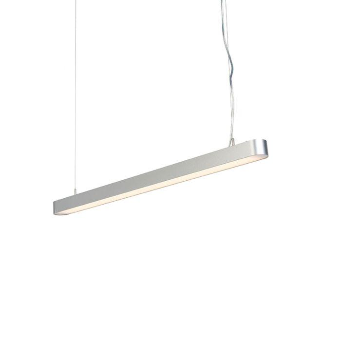 Moderne-längliche-Hängeleuchte-Silber-100-cm-inkl.-LED---Duct-R