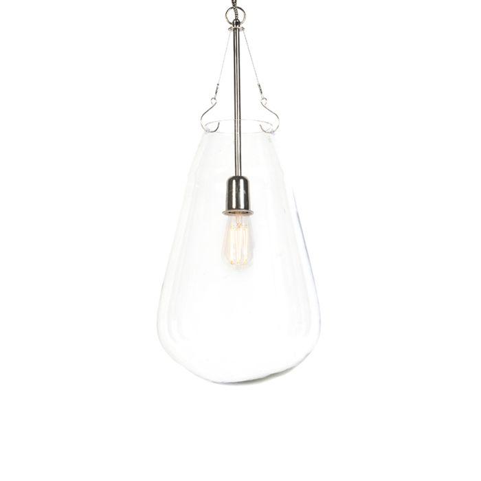 Design-Pendelleuchte-Glas-mit-Nickel---Sikka