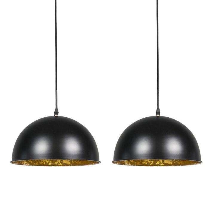 2er-Set-Pendelleuchten-Magna-30-matt-schwarz-mit-goldener-Innenseite