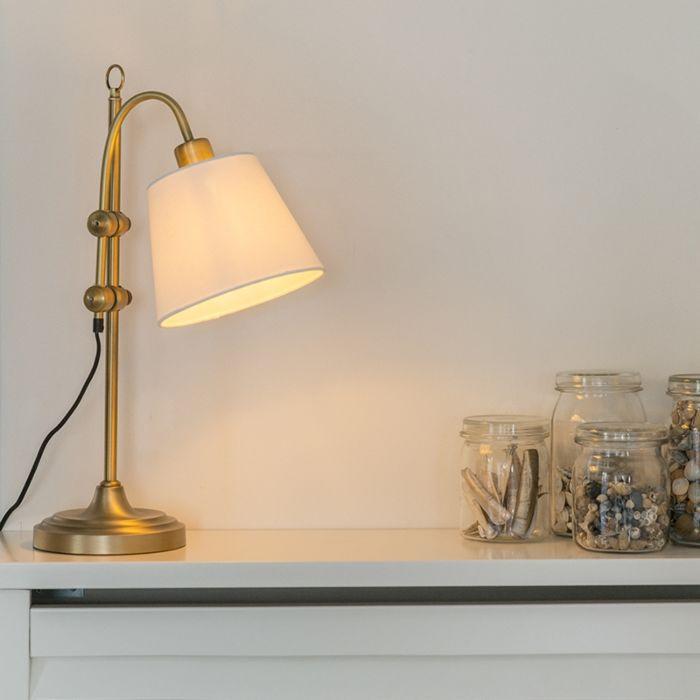 Klassische-Tischleuchte-bronze-mit-weißem-Lampenschirm---Ashley