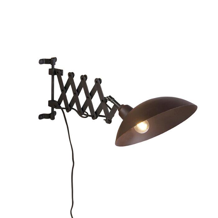 Industrielle-Wandleuchte-mit-Mundharmonika-Arm-Bronze-mit-Schwarz---Tyne