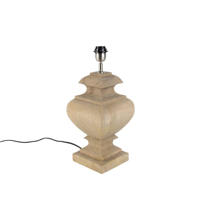 Tischleuchte-im-Landhausstil-ohne-Lampenschirm-Holz-natur---Fern