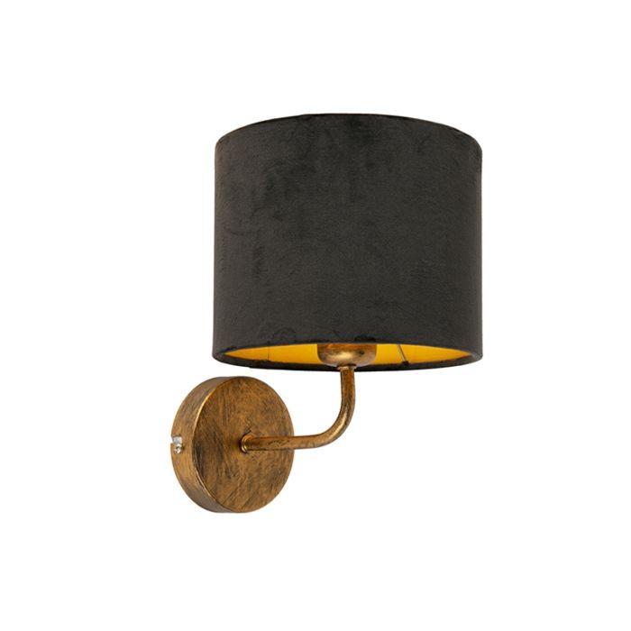 Vintage Wandlampe Gold Mit Schwarzem Veloursschirm Matt