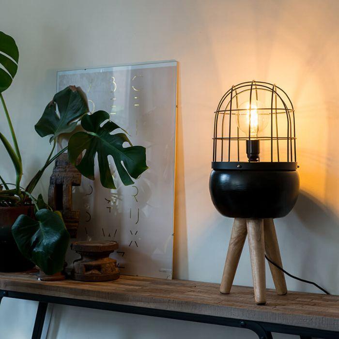 Modernes-Tischlampenschwarzes-auf-hölzernem-Stativ---Vögel