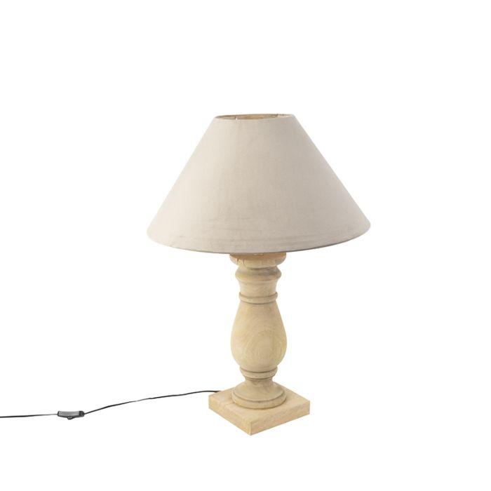 Ländliche-Tischleuchte-mit-Velourschirm-taupe-50-cm---Catnip