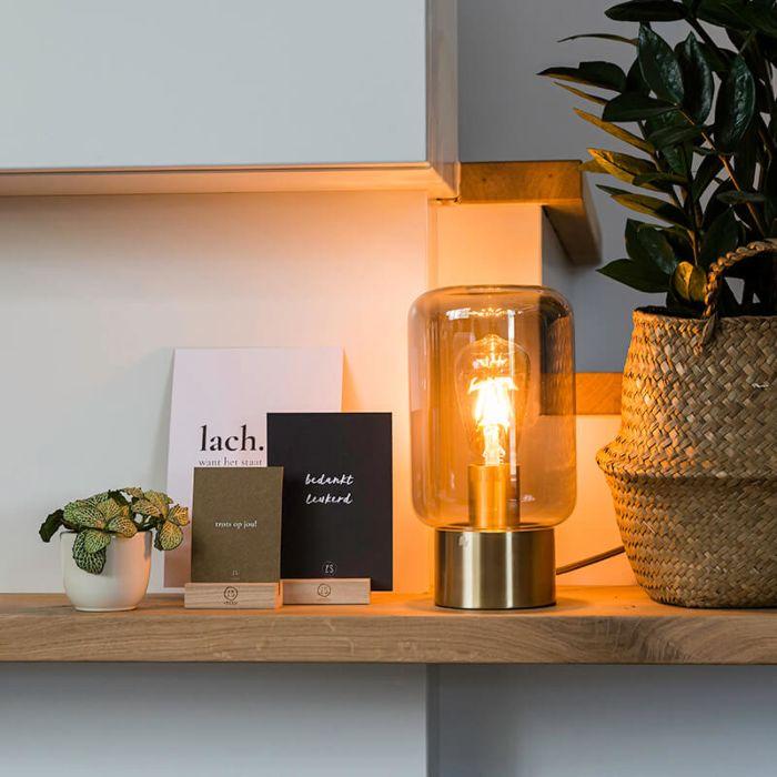 Design-Messing-mit-Rauchglas-Tischlampe---Bliss-Cute