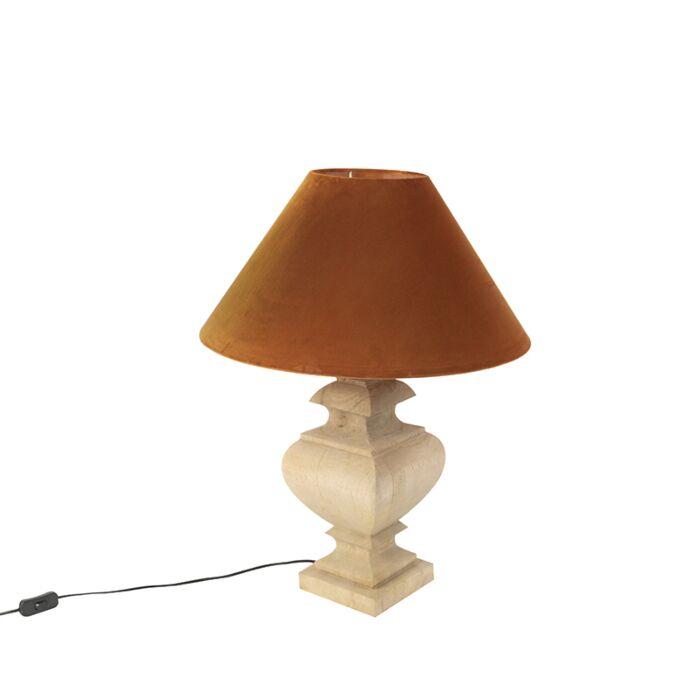 Ländliche-Tischleuchte-mit-Velourschirm-Kürbis-50-cm---Fern