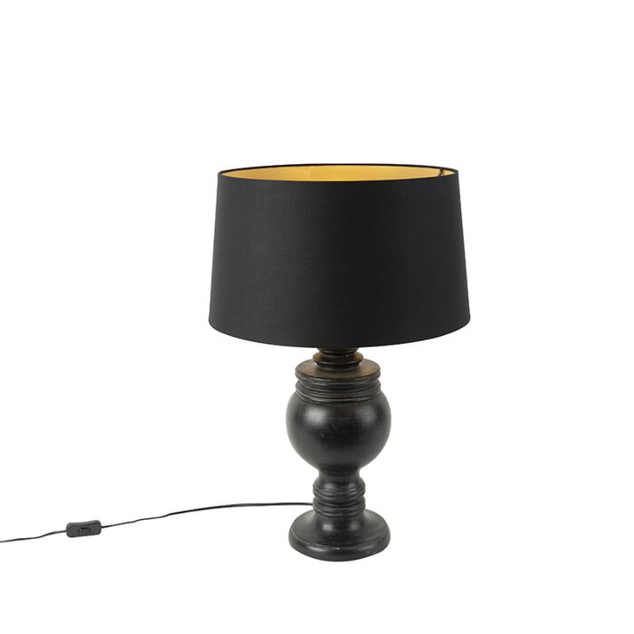 Ländliche-Tischleuchte-Baumwollschirm-schwarz-mit-goldener-Innenseite-45-cm---Sage