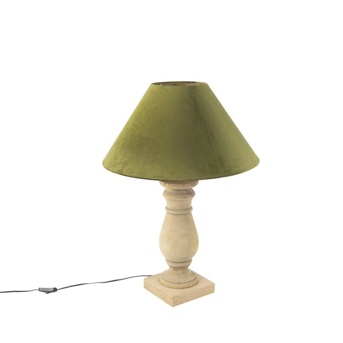 Ländliche-Tischleuchte-mit-Velourschirm-moosgrün-50-cm---Catnip