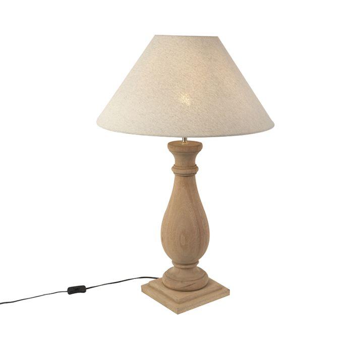 Ländliche-Tischleuchte-mit-Leinenschirm-in-beige-55-cm---Burdock