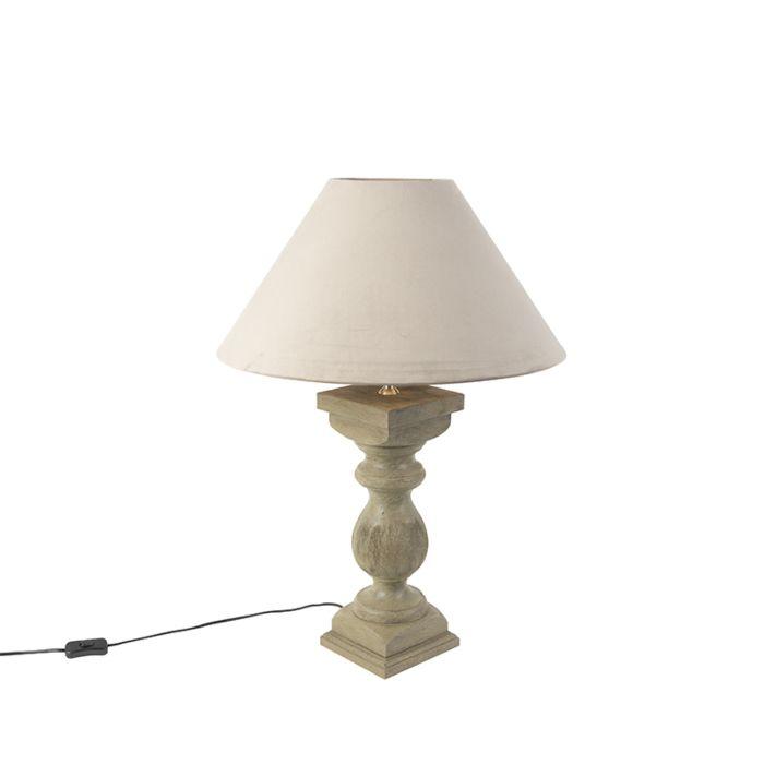 Ländliche-Tischleuchte-mit-Velourschirm-taupe-50-cm---Hyssop