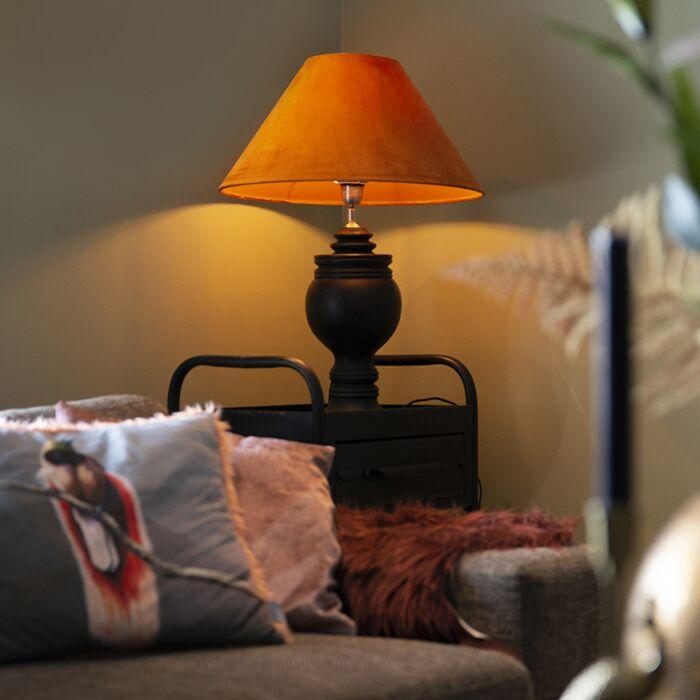 Ländliche-Tischleuchte-mit-Velourschirm-Kürbis-50-cm---Sage
