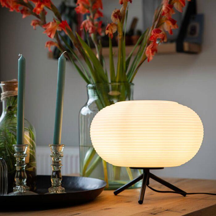 Design-Tischlampe-schwarz-33-cm-mit-Opalglas---Hero