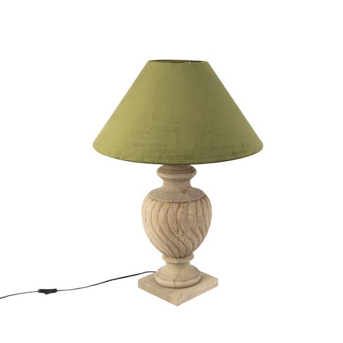 Ländliche-Tischleuchte-mit-Velourschirm-moosgrün-55-cm---Tansy