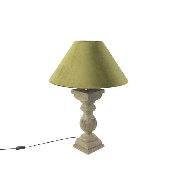 Ländliche-Tischleuchte-mit-Velourschirm-moosgrün-50-cm---Hyssop