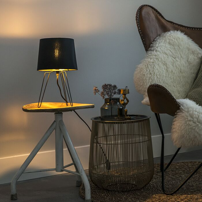 Moderne-Tischlampe-schwarz---Lofty