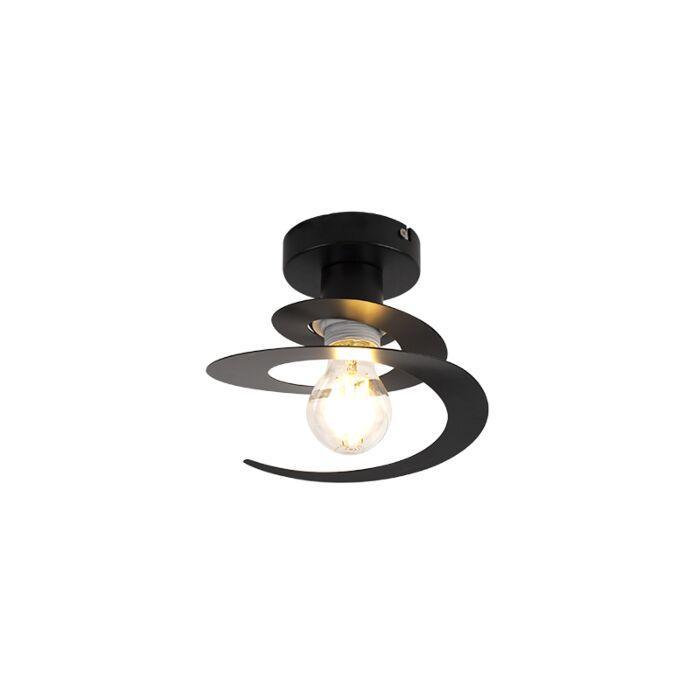 Moderne-Deckenleuchte-mit-schwarzem-Spiralschirm---Scroll