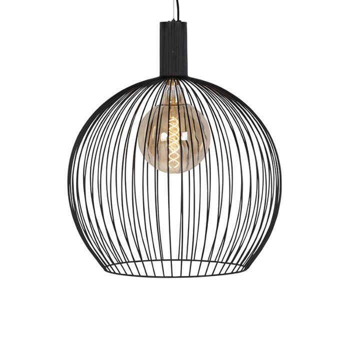 Moderne-runde-Hängelampe-schwarz-60-cm---Wire
