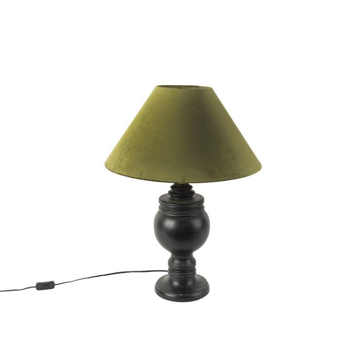 Ländliche-Tischleuchte-mit-Velourschirm-in-moosgrün-50-cm---Sage