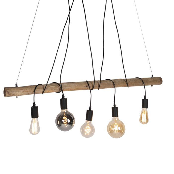 Land-Hängelampe-Holz-mit-schwarzem-5-Licht---Dami