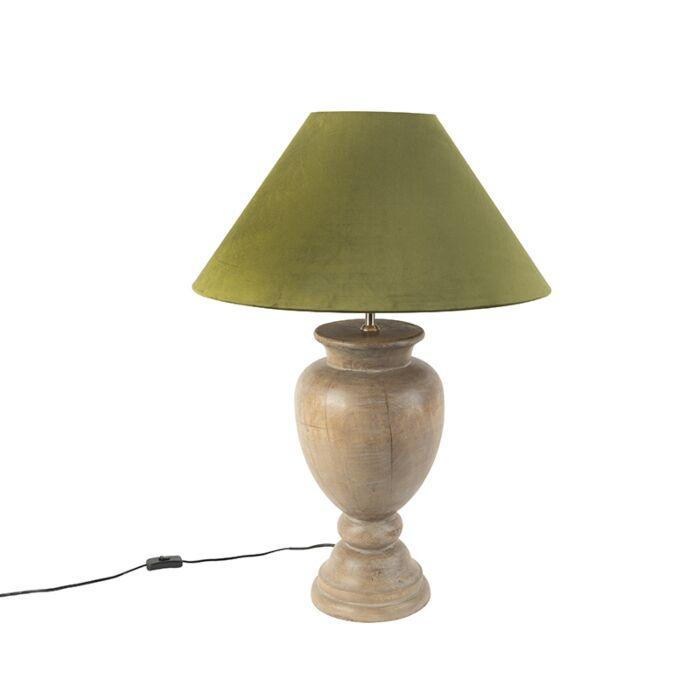 Country-Tischlampe-mit-Samtschirm-moosgrün-55-cm---Clover
