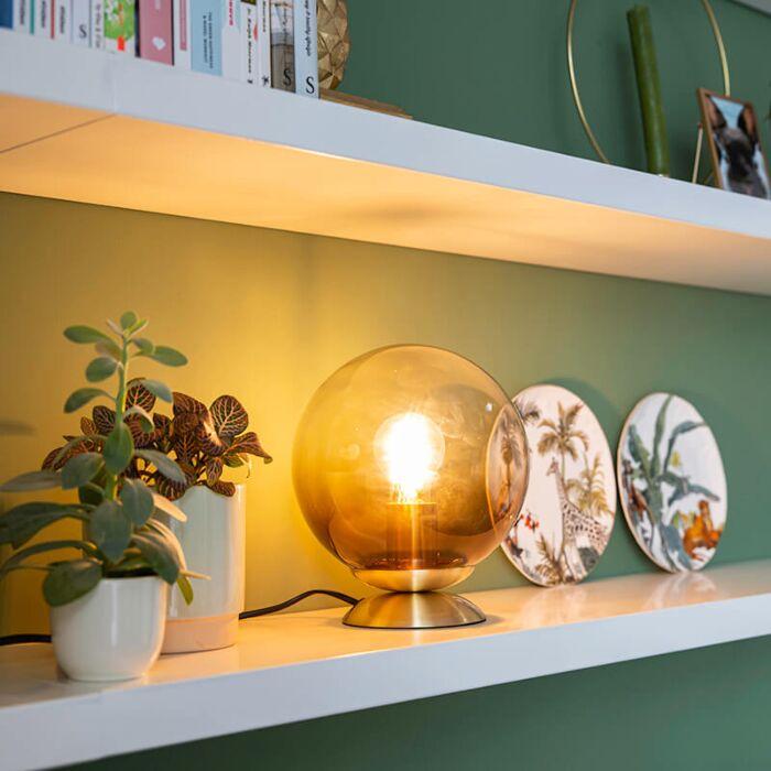 Art-Deco-Tischlampe-Messing-mit-Rauchglas---Pallon