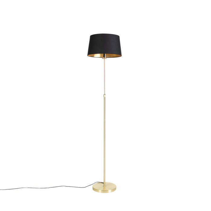 Stehleuchte antik Lampenschirm Glas Höhenverstellbare Stehlampe Altmessing