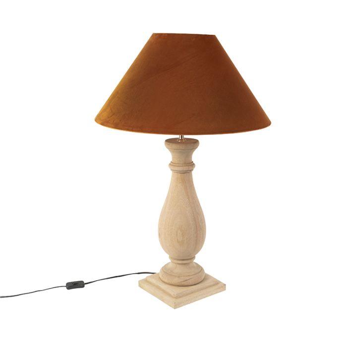 Ländliche-Tischleuchte-mit-Samtschirm-Kürbis-55-cm---Burdock