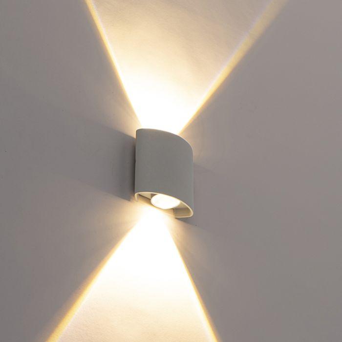 Design-Außenwandleuchte-silber-inkl.-LED-2-Leuchten---Silly