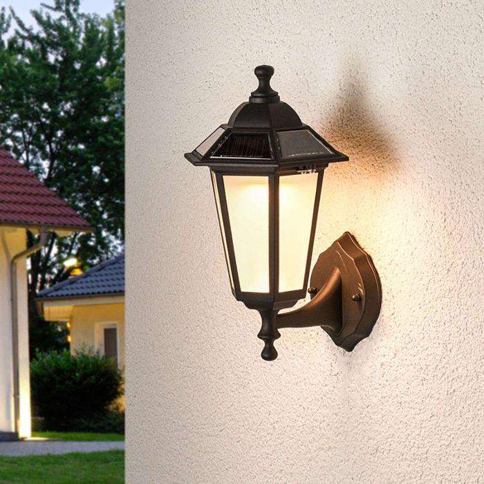 Klassische-Außenleuchte-schwarze-Laterne-inkl.-LED-Solar---Kristin