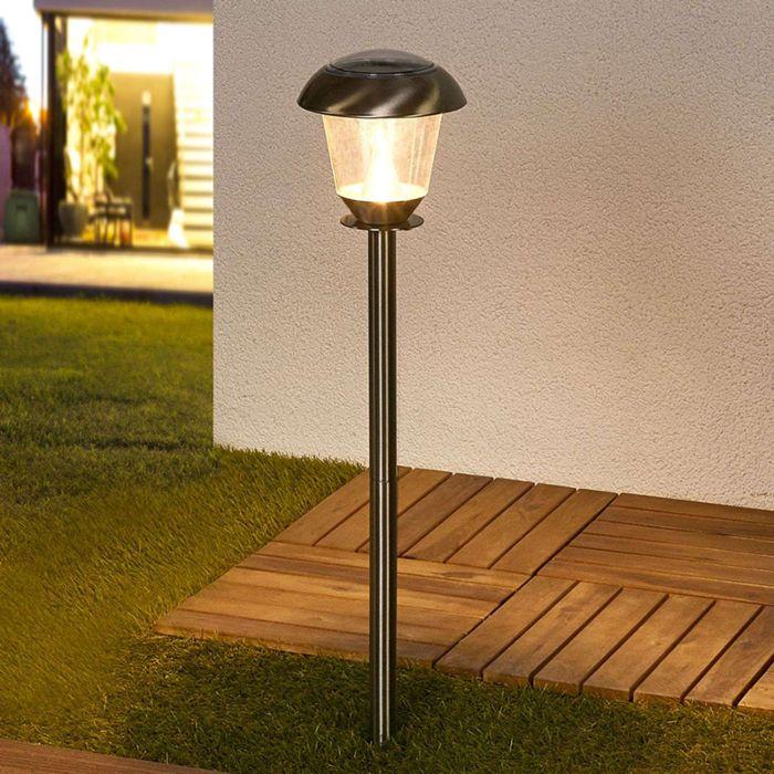 Klassische-Außenleuchte-Edelstahl-inkl.-LED-auf-Solarenergie---Nela