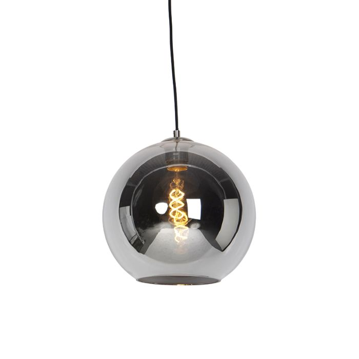 Art-Deco-Hängelampe-Stahl-mit-Rauchglas-30-cm---Pallot