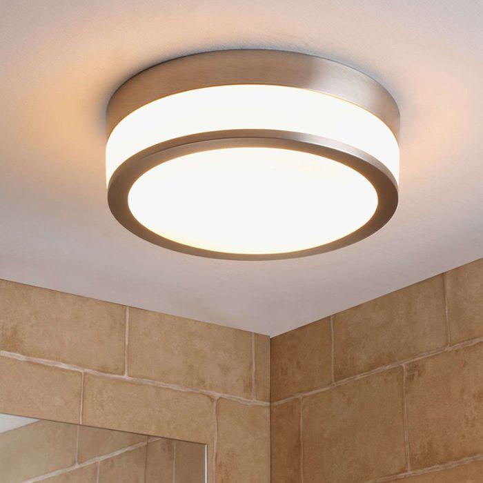 Klassische-runde-Deckenleuchte-silber-inkl.-Austauschbarer-LED---Flavi