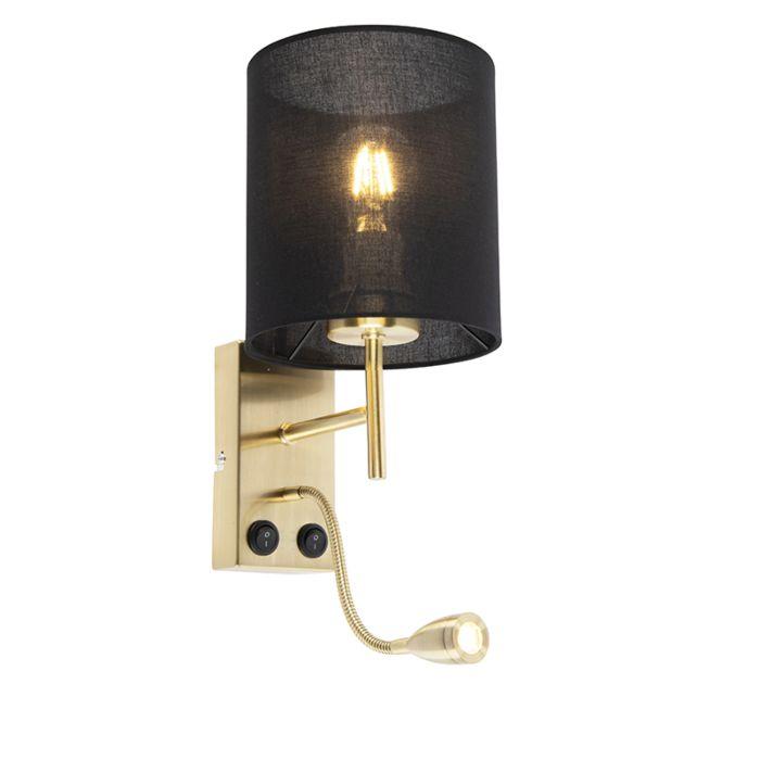 Art-Deco-Wandlampe-Gold-mit-schwarzem-Baumwollschirm---Stacca