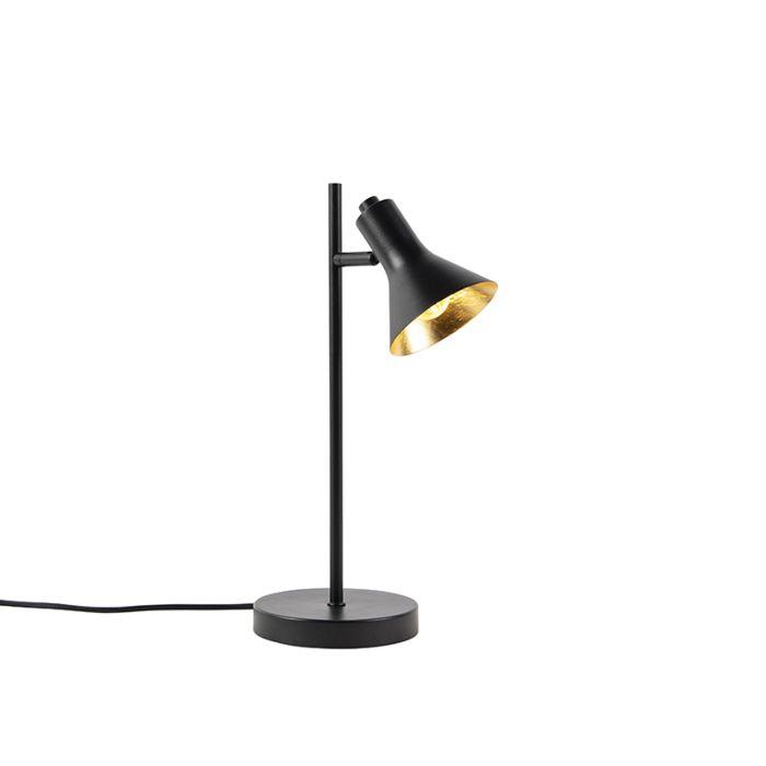 Moderne-Tischlampe-schwarz-mit-Gold-1-Licht---Magno