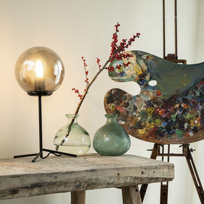 Art-Deco-Tischlampe-schwarz-mit-Rauchglas-45,5-cm---Pallon