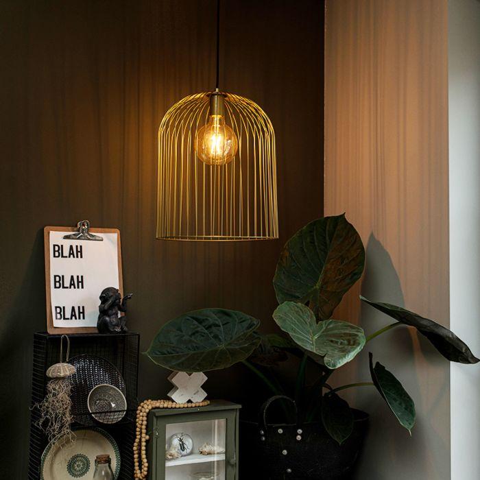 Design-Hängelampe-gold---Wire-Knock