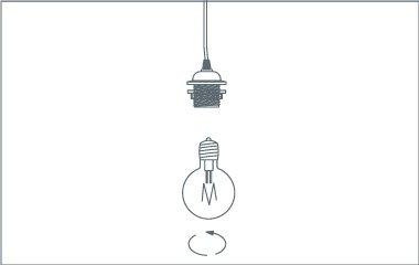 Setze das Leuchtmittel ein