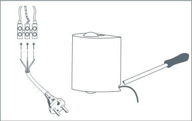 Een stekker aan een wandlamp bevestigen